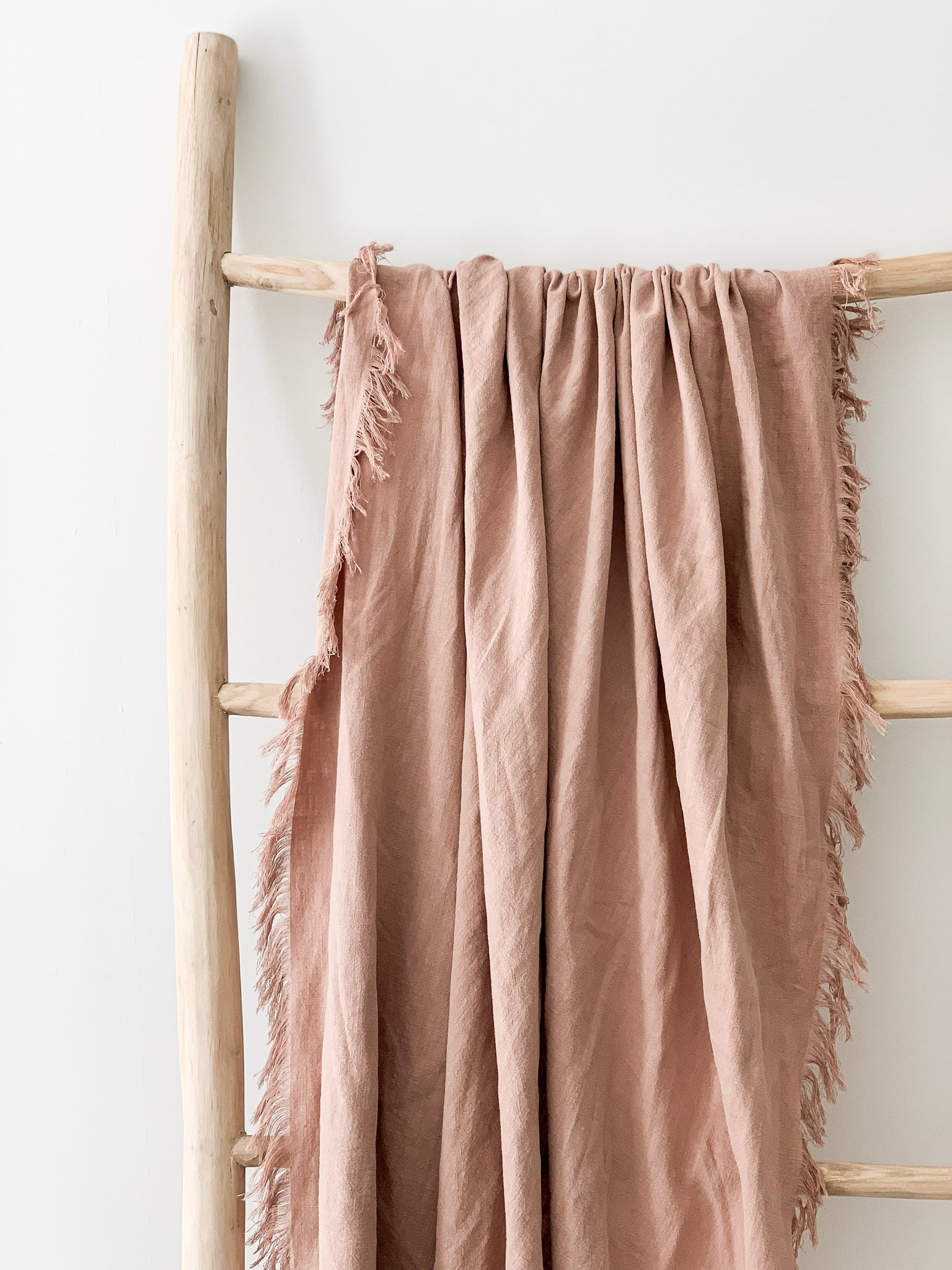 Ramie Fringed Throw - Blush