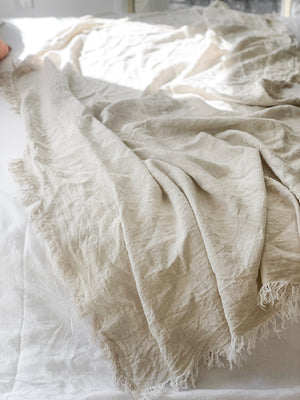 Linen Fringed Throw - Flax