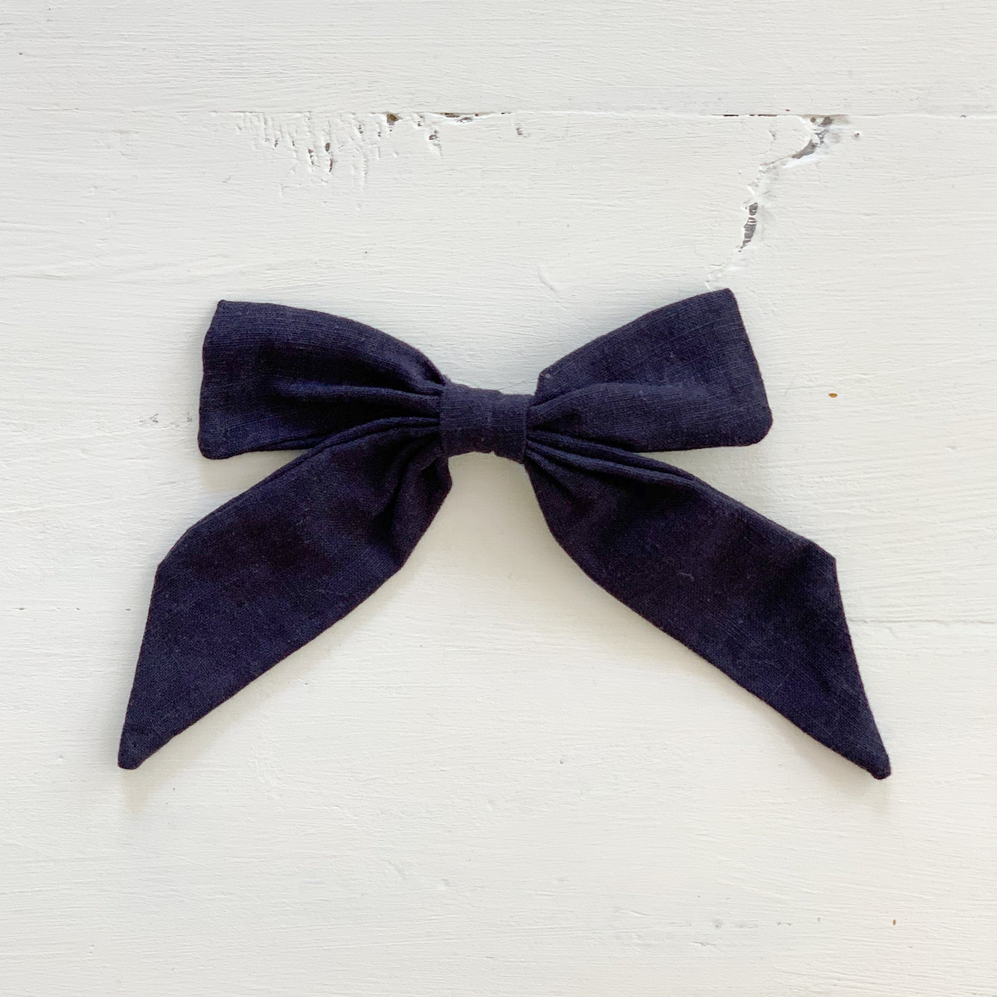 Ramie Hair Bows - Navy