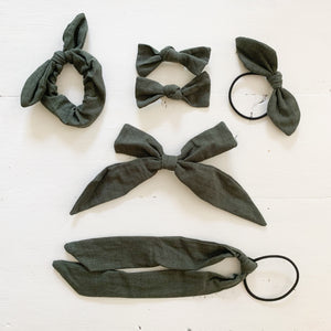 Ramie Hair Bows - Forest