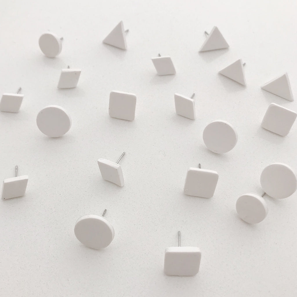 'Basics' Clay Studs - 'Chalk'