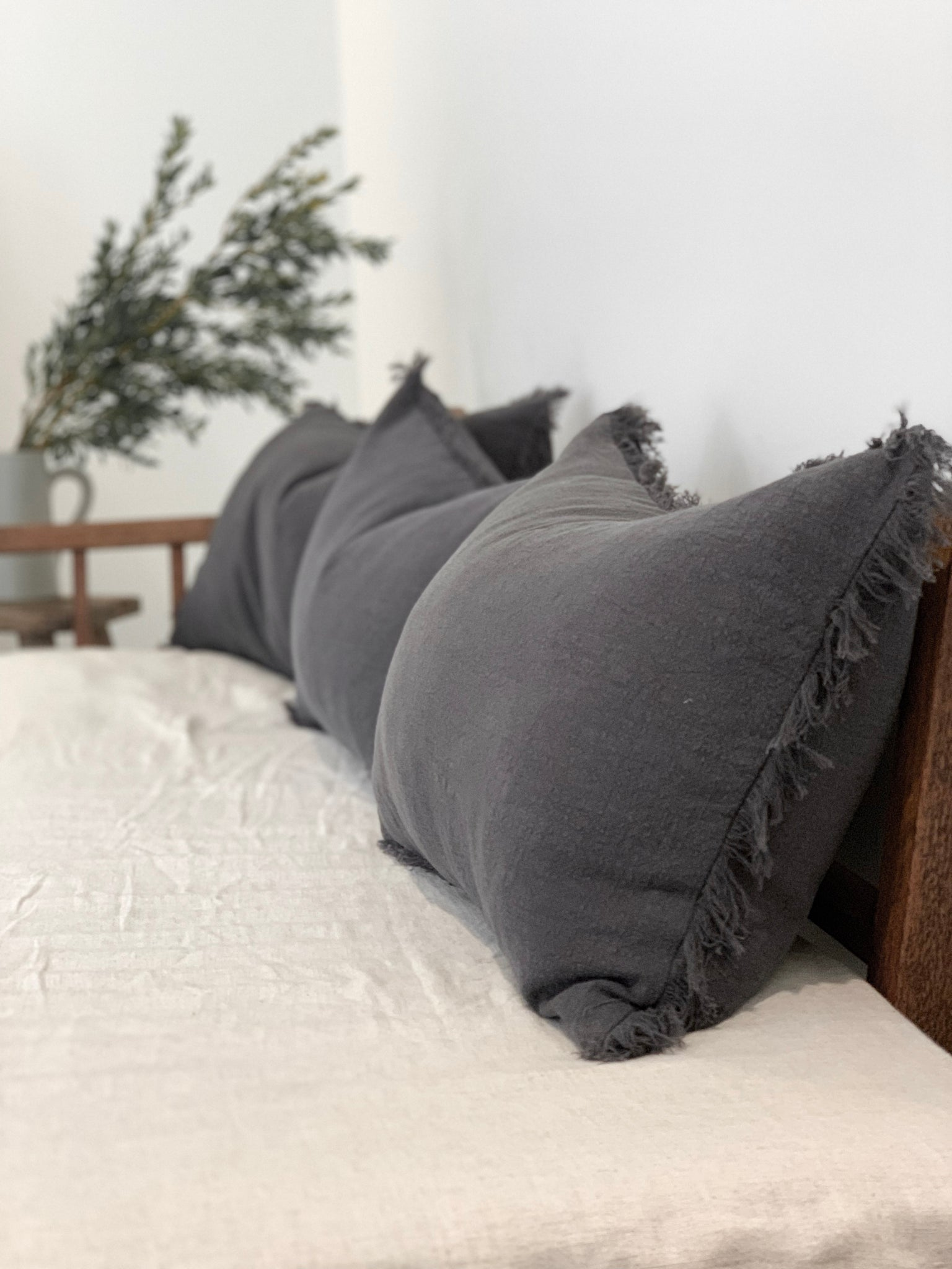 Ramie Cushion - Charcoal (NEW)