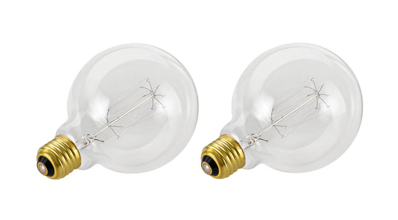 # 10004-02 G125 Vintage Edison Filament Light Bulb, 60 Watt Medium (E26) Base, Clear, 2 Pack