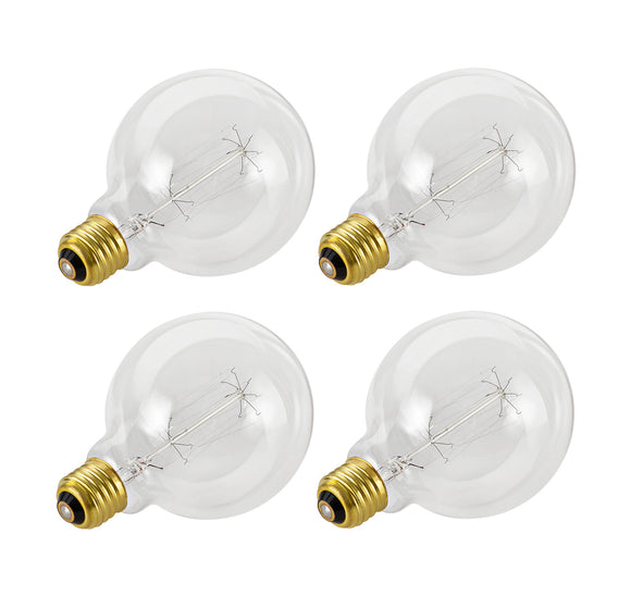 # 10004-04 G125 Vintage Edison Filament Light Bulb, 60 Watt Medium (E26) Base, Clear, 4 Pack