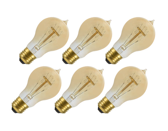 # 10005-06 A19 Vintage Edison Filament Light Bulb, 60 Watt Medium (E26) Base, Amber, 6 Pack