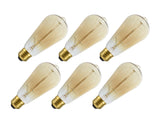 # 10006-06 S19 Vintage Edison Filament Light Bulb, 40 Watt Medium (E26) Base, Amber, 6 Pack