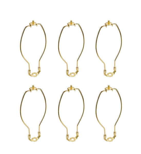 "# 20001-16 8"" Lamp Harp with Saddle in Polished Brass Finish, 6 Pack"
