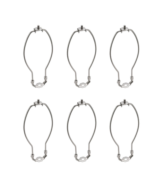 "# 20001-26 8"" Lamp Harp with Saddle in Satin Nickel Finish, 6 Pack"