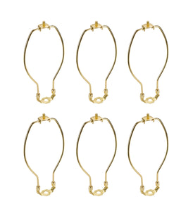 "# 20005-16 7"" Lamp Harp with Saddle in Polished Brass Finish, 6 Pack"