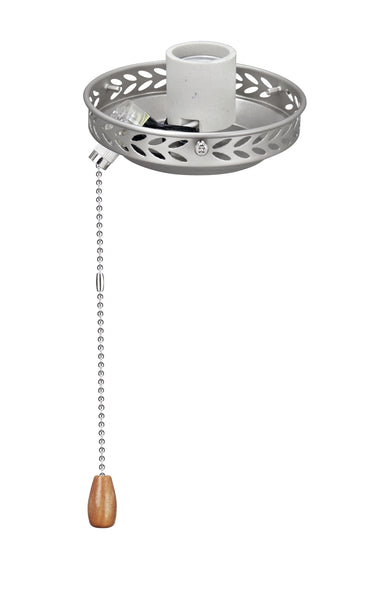 "# 22001-11, One-Light Ceiling Fan Fitter Light Kit with Pull Chain, 4 1/2"" Diameter, Brushed Nickel"