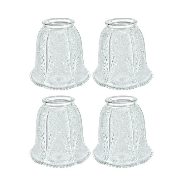 # 23007-4 Transitional Style Replacement Bell Shaped Clear Glass Shade with Floral Pattern, 2 1/4