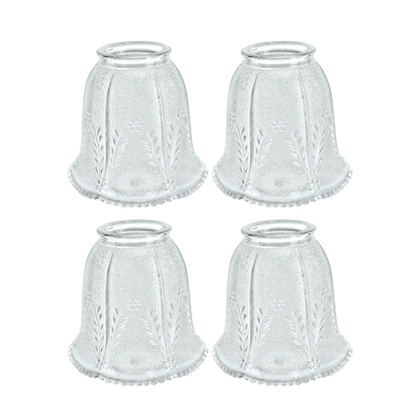 "# 23007-4 Transitional Style Replacement Bell Shaped Clear Glass Shade with Floral Pattern, 2 1/4"" Fitter Size, 4 1/4"" high x 4 1/8"" diameter, 4 Pack"