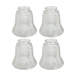 "# 23010-4 Transitional Style Replacement Bell Shaped Ribbed Glass Shade, 2 1/4"" Fitter Size, 4 1/2"" high x 4 3/4"" diameter, 4 Pack"
