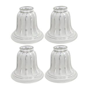 "# 23016-4 Transitional Style Replacement Bell Shaped Clear Frosted Glass Shade, 2 1/4"" Fitter Size, 4 3/4"" high x 5 1/2"" diameter, 4 Pack"