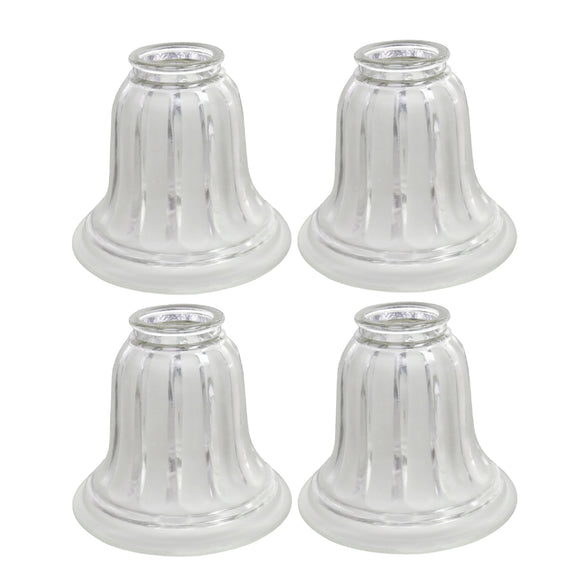 # 23016-4 Transitional Style Replacement Bell Shaped Clear Frosted Glass Shade, 2 1/4