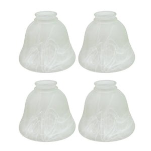 "# 23018-4 Transitional Style Replacement Bell Shaped Frosted Alabaster Glass Shade, 2 1/4"" Fitter Size, 4 3/4"" high x 6"" diameter, 4 Pack"