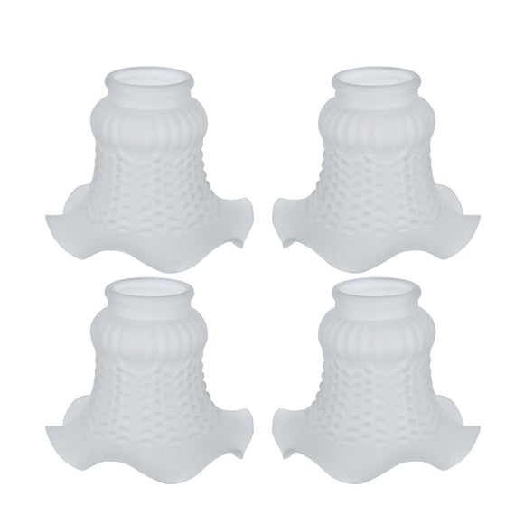# 23021-4 Transitional Style Replacement Floral Shaped Frosted Glass Shade, 2-1/8