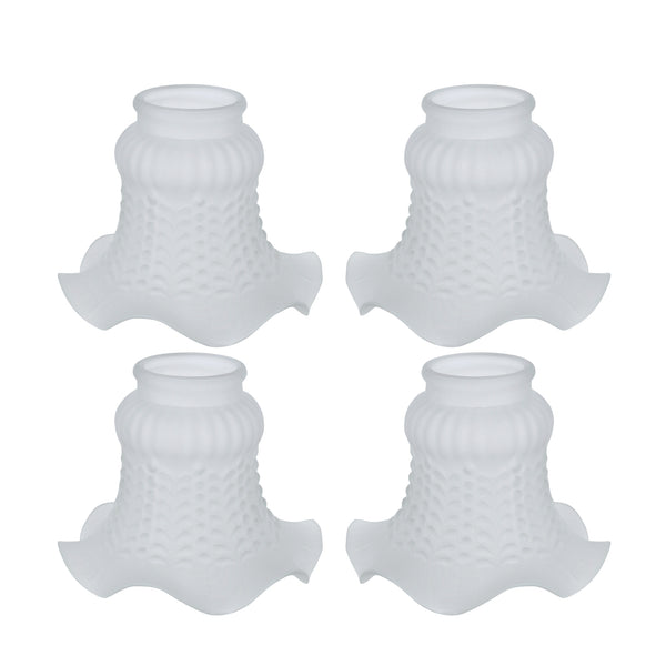"# 23021-4 Transitional Style Replacement Floral Shaped Frosted Glass Shade, 2"" Fitter Size, 4 1/8"" high x 4 3/4"" diameter, 4 Pack"