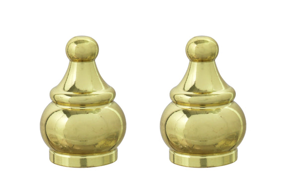 # 24017-12, 2 Pack Steel Lamp Finial in Brass Plated Finish, 1 1/2