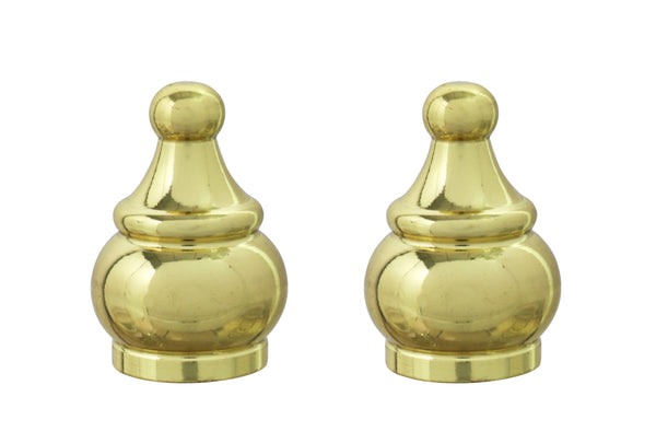 "# 24017-12, 2 Pack Steel Lamp Finial in Brass Plated Finish, 1 1/2"" Tall"