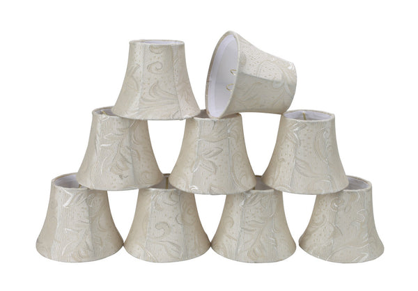 "# 30002-X Small Bell Shape Mini Chandelier Clip-On Lamp Shade, Transitional Design in Off White Fabric, 5"" bottom width (3"" x 5"" x 4"" ) - Sold in 2, 5, 6 & 9 Packs"