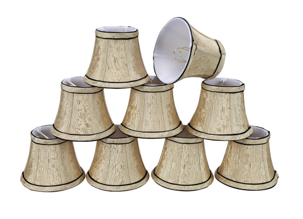 "# 30003-X Small Bell Shape Mini Chandelier Clip-On Lamp Shade, Transitional Design in Light Gold Colored Fabric, 5"" bottom width (3"" x 5"" x 4"") - Sold in 2, 5, 6 and 9 Packs"