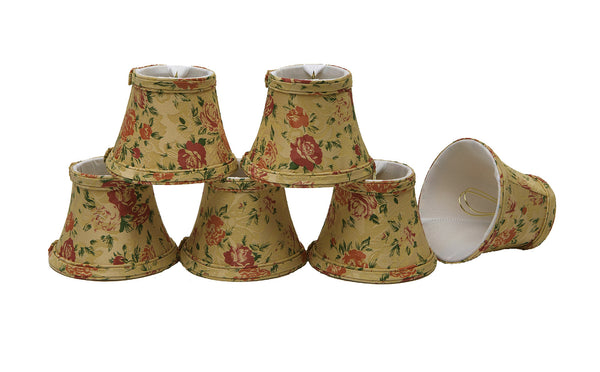 "# 30005-X Small Bell Shape Mini Chandelier Clip-On Lamp Shade, Transitional Design in Floral Print, 5"" bottom width (3"" x 5"" x 4"" ) - Sold in 2, 5, 6 & 9 Packs"