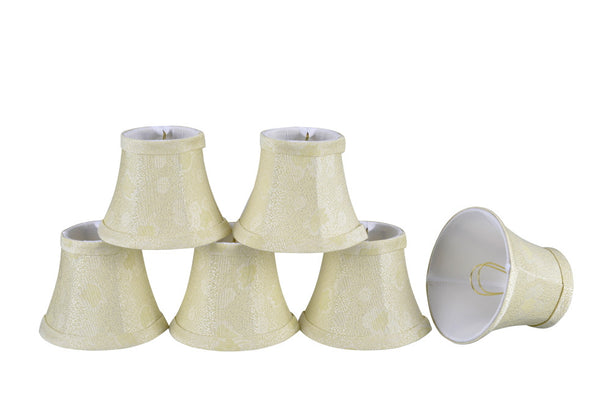 "# 30007-X Small Bell Shape Mini Chandelier Clip-On Lamp Shade, Transitional Design in Butter Crème, 5"" bottom width (3"" x 5"" x 4"" )  - Sold in 2, 5, 6 & 9 Packs"