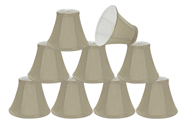 "# 30008-X Small Bell Shape Mini Chandelier Clip-On Lamp Shade, Transitional Design in Butter Creme, 6"" bottom width (3"" x 6"" x 5"") - Sold in 2, 5, 6 & 9 Packs"