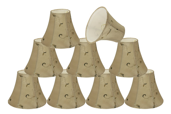 "# 30009-X Small Bell Shape Mini Chandelier Clip-On Lamp Shade, Transitional Design in Gold Color Fabric, 6"" bottom width (3"" x 6"" x 5"") - Sold in 2, 5, 6 & 9 Packs"