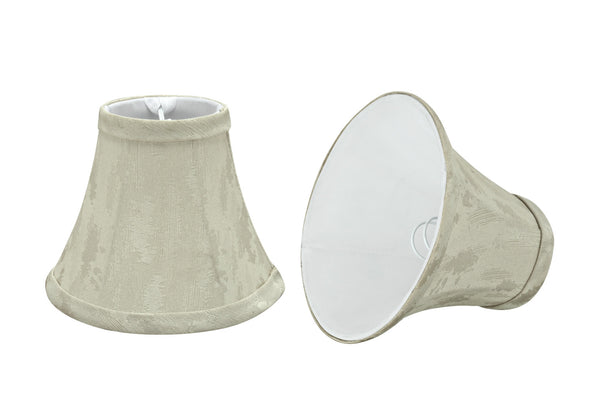 "# 30010-X Small Bell Shape Mini Chandelier Clip-On Lamp Shade, Transitional Design in Butter Creme, 6"" bottom width (3"" x 6"" x 5"")  - Sold in 2, 5, 6 & 9 Packs"