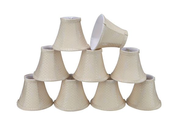 "# 30011-X Small Bell Shape Mini Chandelier Clip-On Lamp Shade, Transitional Design in Butter Creme, 6"" bottom width (  3"" x 6"" x 5"") - Sold in 2, 5, 6 & 9 Packs"