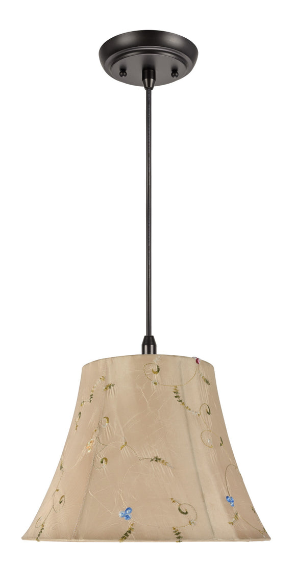# 70017 1-Light Hanging Pendant Ceiling Light with Transitional Bell Fabric Lamp Shade, Gold with Floral Design, 13