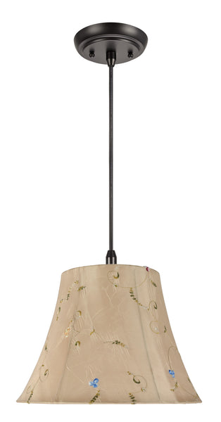 "# 70017 1-Light Hanging Pendant Ceiling Light with Transitional Bell Fabric Lamp Shade, Gold with Floral Design, 13"" Wide"