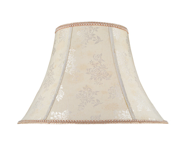 "# 30027 Transitional Bell Shape Spider Construction Lamp Shade in an Off White Fabric with Design, 18"" wide (9"" x 18"" x 13"")"