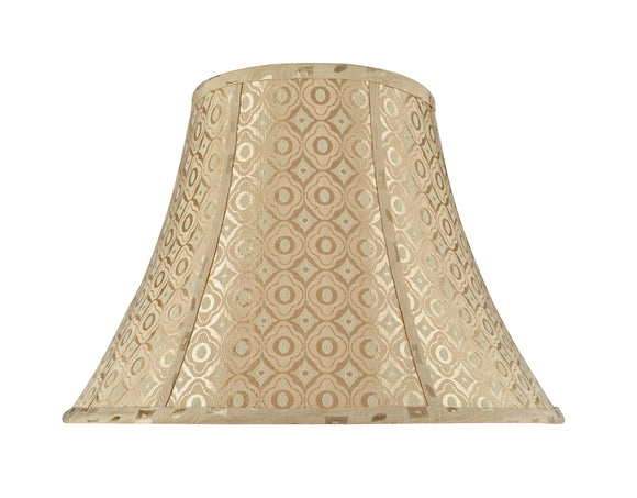 # 30028 Transitional Bell Shape Spider Construction Lamp Shade in Gold Textured Fabric with design, 18