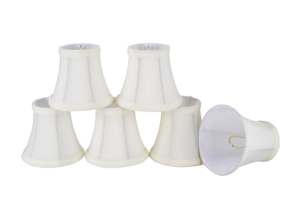 "# 30035-X Small Bell Shape Mini Chandelier Clip-On Lamp Shade, Transitional Design in Off White, 5"" bottom width (3"" x 5"" x 4 1/2"") - Sold in 2, 5, 6 & 9 Packs"