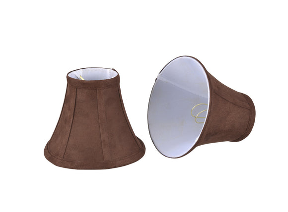 # 30038-X  Small Bell Shape Mini Chandelier Clip-On Lamp Shade, Transitional Design in Brown Suede, 6
