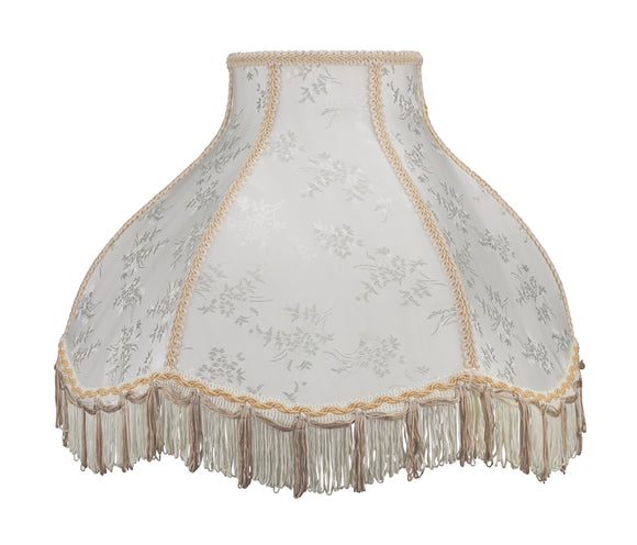 # 30043 Transitional Scallop Bell Shape Spider Construction Lamp Shade in Beige Textured Fabric, 17