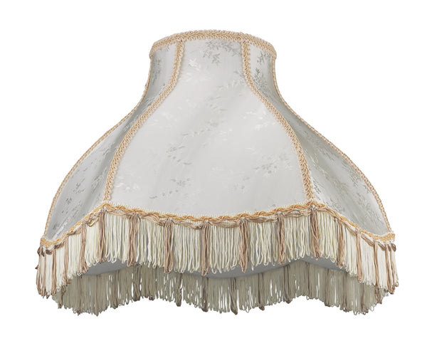 "# 30043 Transitional Scallop Bell Shape Spider Construction Lamp Shade in Beige Textured Fabric, 17"" wide (6"" x 17"" x 12"")"