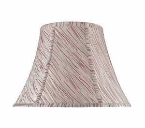 "# 30044 Transitional Bell Shape Spider Construction Lamp Shade in Off White with Red Stripes, 13"" wide (7"" x 13"" x 9 1/2"")"