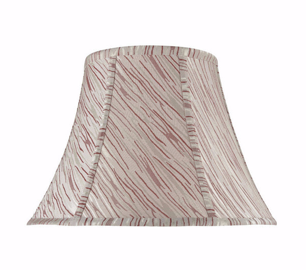 # 30044 Bell Shaped (spider) Shade in Off White Textured Fabric and Red Stripes - Aspen Creative Corporation