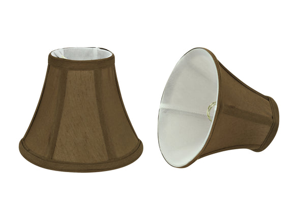 # 30049-X Small Bell Shape Mini Chandelier Clip-On Lamp Shade, Transitional Design in Light Brown Fabric, 6