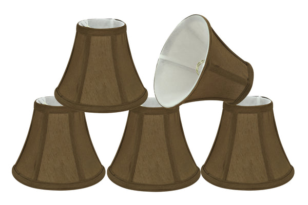"# 30049-X Small Bell Shape Mini Chandelier Clip-On Lamp Shade, Transitional Design in Light Brown Fabric, 6"" bottom width (3"" x 6"" x 5"") - Sold in 2, 5, 6 & 9 Packs"