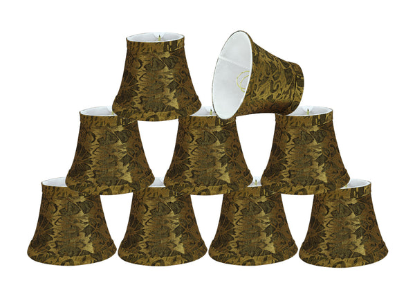"# 30051-X Small Bell Shape Mini Chandelier Clip-On Shade, Transitional Design in Pumpkin Gold Fabric, 5"" bottom width (3"" x 5"" x 4"") - Sold in 2, 5, 6 & 9 Packs"