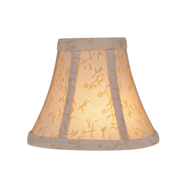 "# 30053-X Small Bell Shape Mini Chandelier Clip-On Shade, Transitional Design in Beige with Floral Accenting, 6"" bottom width (3"" x 6"" x 5"") Sold in 2, 5, 6 & 9 Packs"