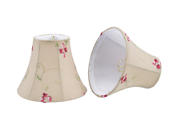 # 30055-X Small Bell Shape Mini Chandelier Clip-On Lamp Shade, Transitional Design in Apricot Fabric, 6