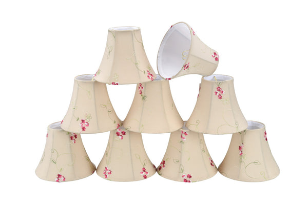 "# 30055-X Small Bell Shape Mini Chandelier Clip-On Lamp Shade, Transitional Design in Apricot Fabric, 6"" bottom width (3"" x 6"" x 5"") - Sold in 2, 5, 6 & 9 Packs"