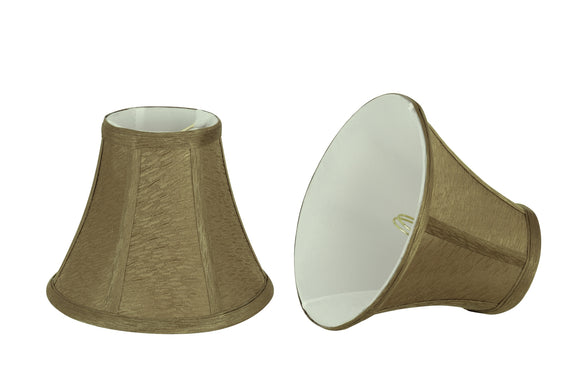 # 30056-X Small Bell Shape Mini Chandelier Clip-On Lamp Shade, Transitional Design in Khaki Fabric, 6