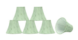 "# 30058-X Small Bell Shape Mini Chandelier Clip-On Lamp Shade, Transitional Design in Light Green, 6"" bottom width (3"" x 6"" x 5"") - Sold in 2, 5, 6 & 9 Packs"